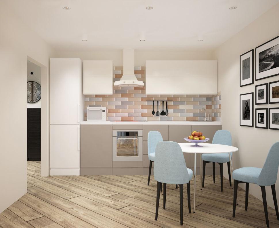 Дизайн-проект кухни-гостиной 20 кв.м в теплых оттенках, белый кухонный гарнитур, фартук бежевый, мягкие стулья, обеденный стол, декор
