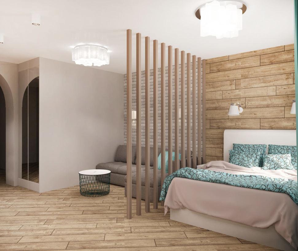 Интерьер спальни-гостиной 22 кв.м в песочных тонах с бирюзовыми оттенками, кровать, диван, декоративная перегородка, белый журнальный столик, пвх плитка, светильники