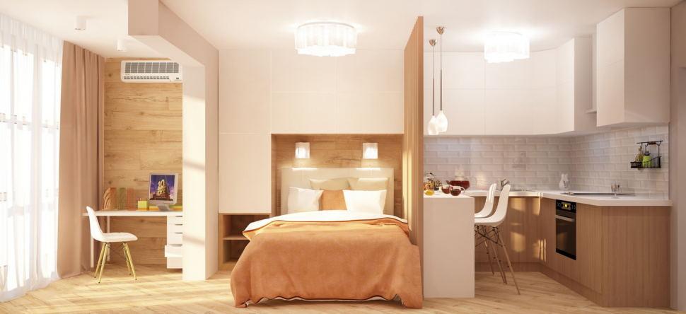 Дизайн комнаты 19 кв.м в теплых оттенках, рабочий стол, шкаф над кроватью, кровать, кухонный гарнитур, декоративная перегородка