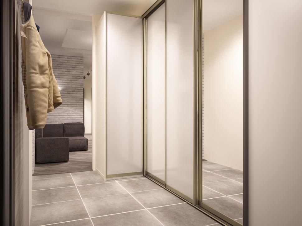 Интерьер кухни- гостиной 10 кв.мв светлых тонах с акцентами, керамический гранит, белый шкаф, открытая вешалка пвх плитка