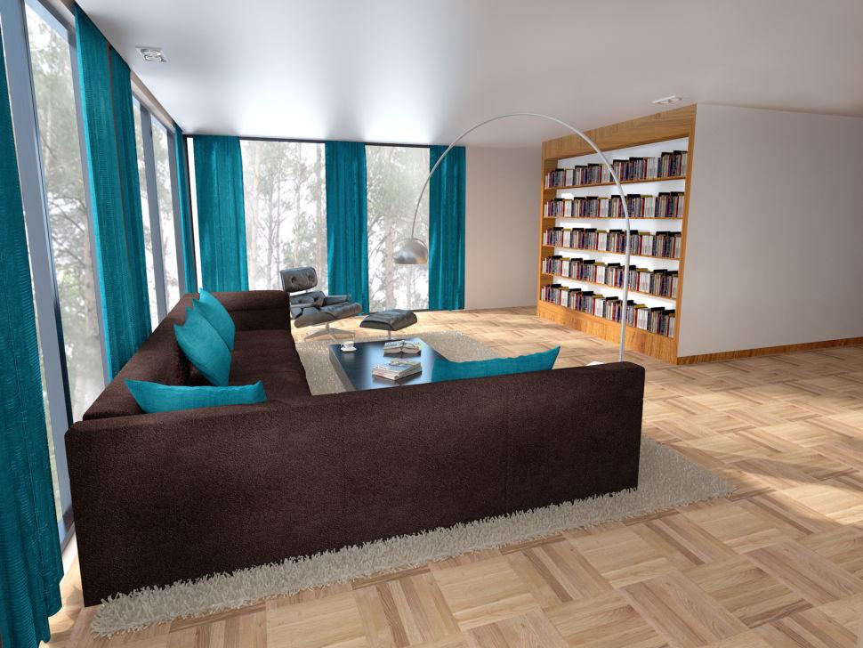 Визуализация гостиной 56 кв.м в бежевых тонах с яркими бирюзовыми портьерами, диван коричневый, стеллаж под книги, торшер