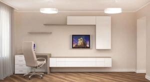 Проект гостиной 24 кв.м в бежевых и красных тонах, светильники, белая тумба под ТВ, телевизор, стол, офисное кресло