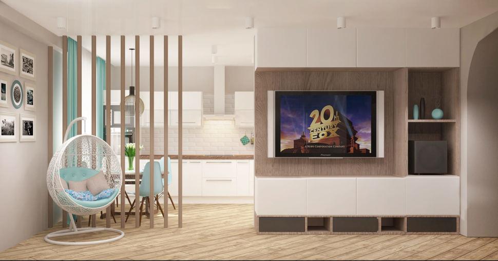 Интерьер спальни-гостиной 22 кв.м в песочных тонах с бирюзовыми оттенками, кресло - подвес, перегородка, белая тумба под ТВ, накладные светильники