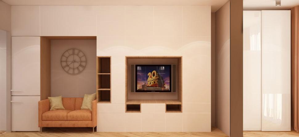 Дизайн-проект комнаты 19 кв.м в теплых оттенках, белый шкаф, бежевый диван, телевизор, часы, тумба под ТВ