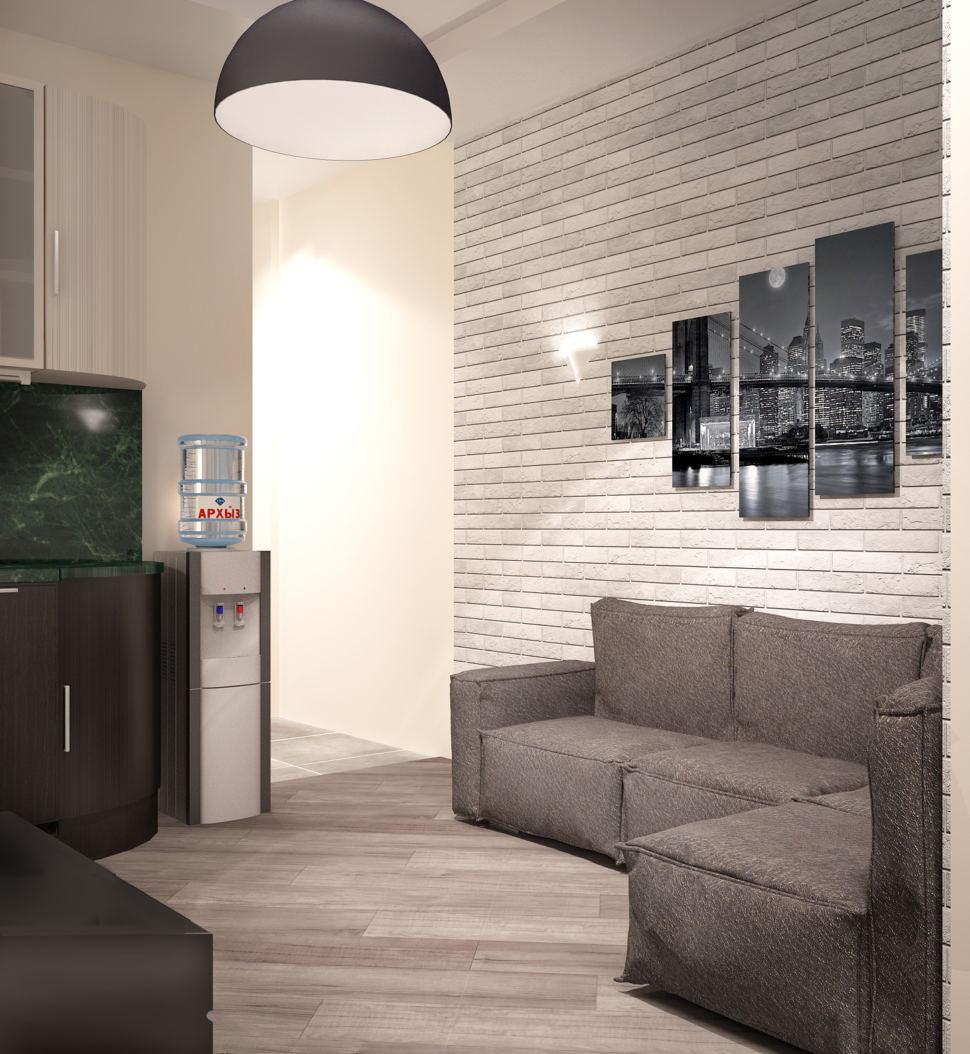 Проект кухни- гостиной 16 кв.м в светлых тонах с акцентами, подвесная люстра, серый диван, элементы декора, бежевая пвх плитка
