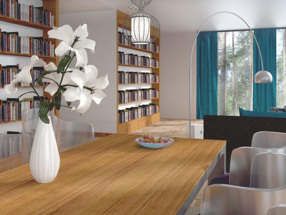 Интерьер гостиной 56 кв.м в бирюзовых тонах, обеденная группа, стеллаж под книги, торшер, столешница под дерево, стулья, светильник