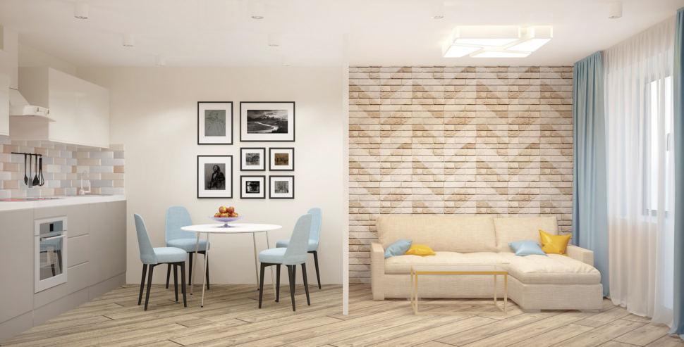 Проект кухни-гостиной 20 кв.м в теплых оттенках, перегородка, кухонный гарнитур, бежевый диван, обеденный стол, стулья