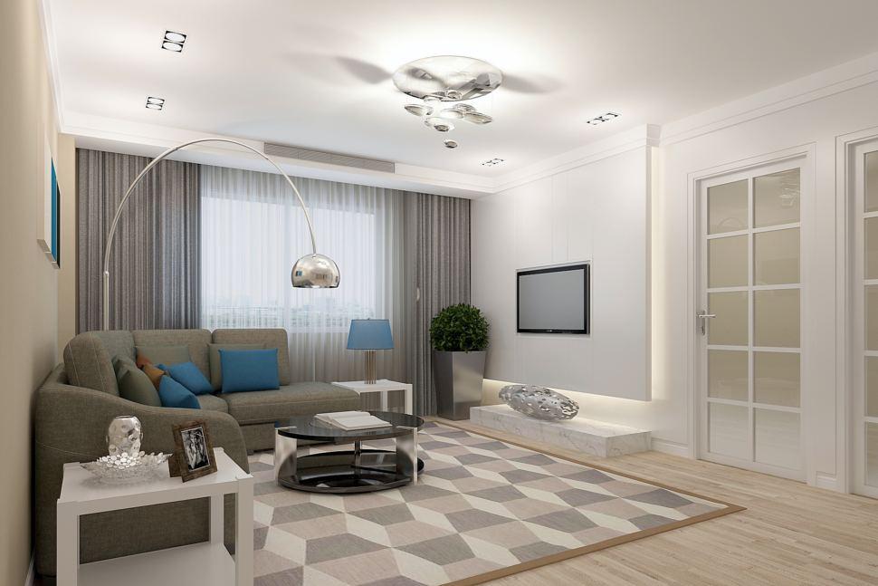 Визуализация гостиной 26 кв.м в бежевых тонах с синими акцентами, серый диван, портьеры, торшер, журнальный столик, телевизор