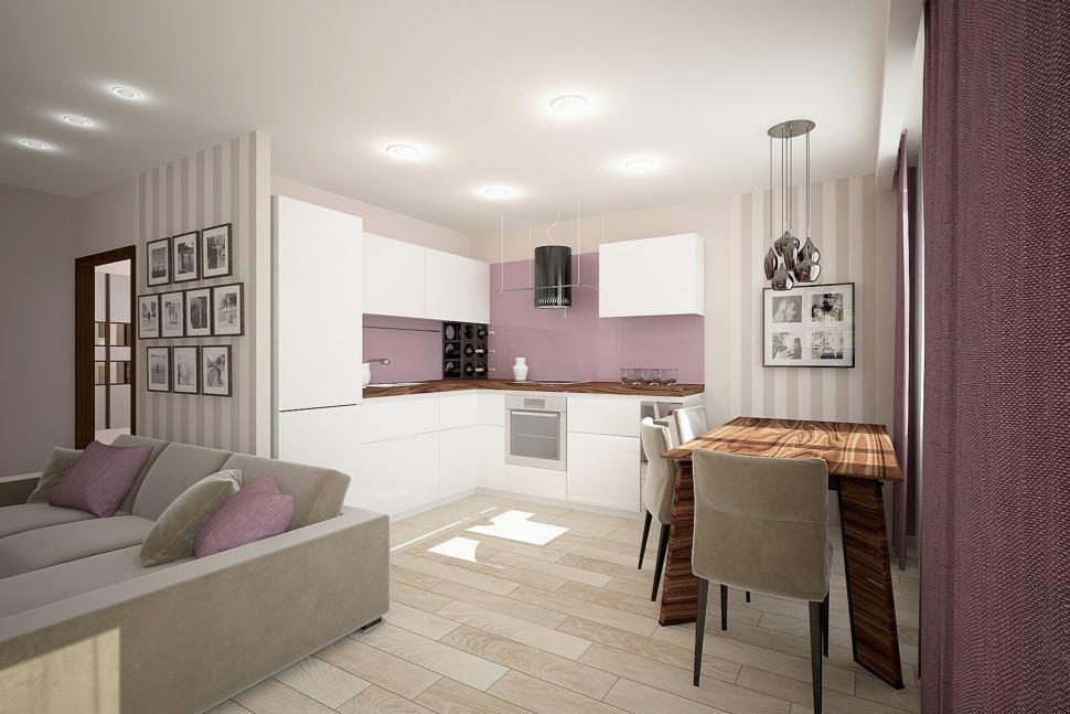 Дизайн-проект кухни 32 кв.м в бежевых тонах с фиолетовыми акцентами, кухонный гарнитур, столешница под дерево