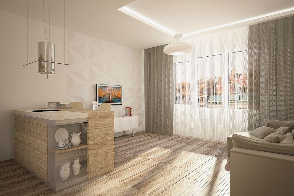 Визуализация гостиной 30 кв.м в теплых оттенках с акцентами, бежевый диван, стеллаж, барная стойка, тумба, серые портьеры, ламинат, люстра
