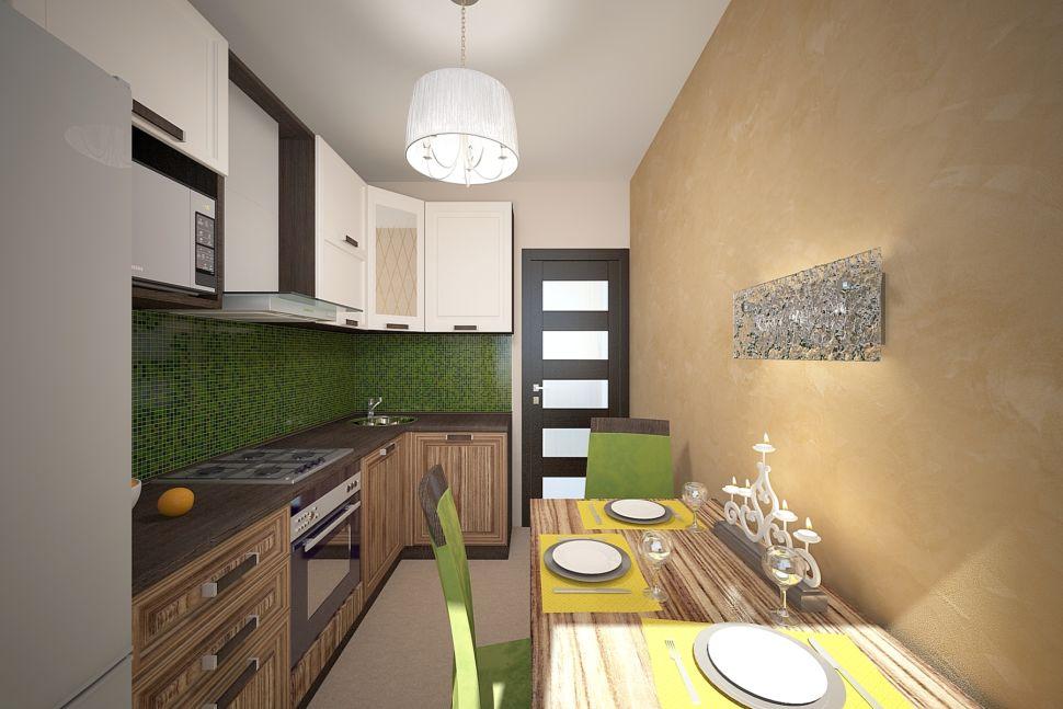 Визуализации кухни 16 кв.м в бежевых оттенках с изумрудными акцентами, мягкие стулья, стол, бра, тюль