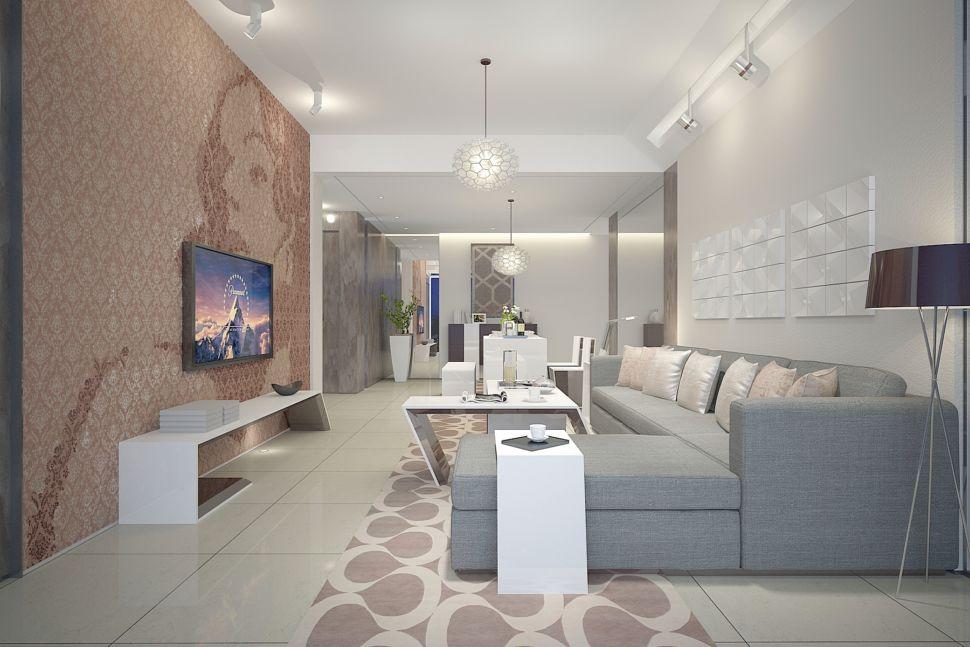 Дизайн гостиной в современном стиле 37 кв.м, обеденный стол, декор, ваза для цветов, подвесная люстра, стена за телевизором