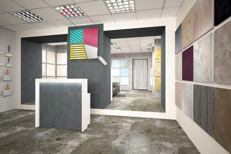 Интерьер торгового помещения 60 кв.м в серых оттенках с акцентами, декоративная штукатурка, стенд, логотип, барная стойка, журнальный столик, светильники