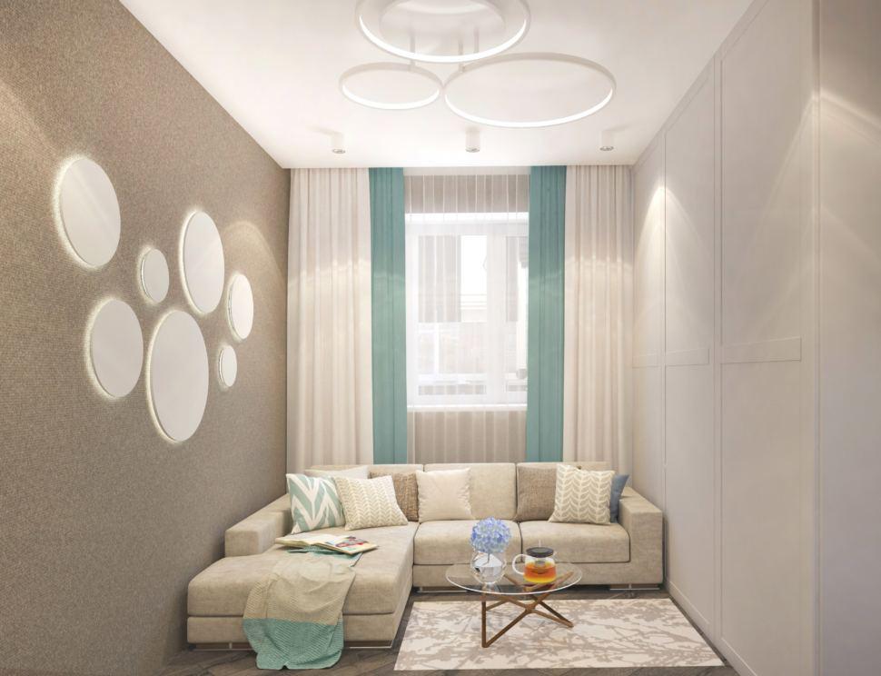 Дизайн гостиной 22 кв.м. в бежевых оттенках, журнальный столик, белый шкаф, ковер, диван, декоративные подушки