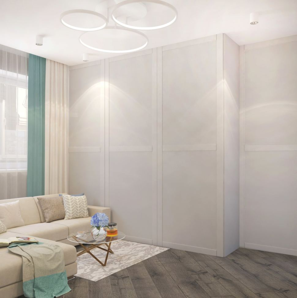 Дизайн гостиной 22 кв.м. в бежевых оттенках, диван, декоративные подушки, журнальный столик, белый шкаф, ковер