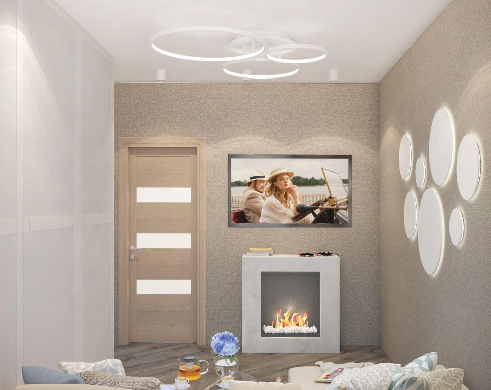 Визуализация гостиной 22 кв.м. в бежевых оттенках с бирюзовыми акцентами, белый шкаф, кровать, зеркало, часы