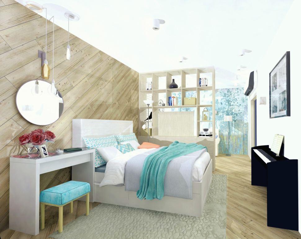 Визуализация комнаты 19 кв.м. в природных тонах с акцентами, стеллаж, диван, ковер, пвх плитка, зеркало