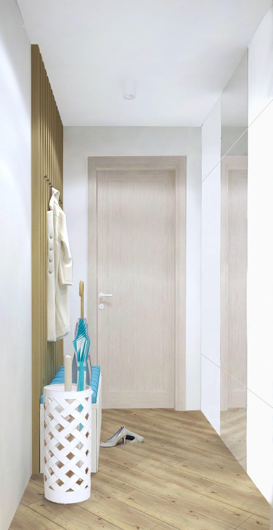 Интерьер прихожей 9 кв.м. в светлых тонах с акцентом, банкетка, открытая вешалка, бруски, шкаф, зеркало