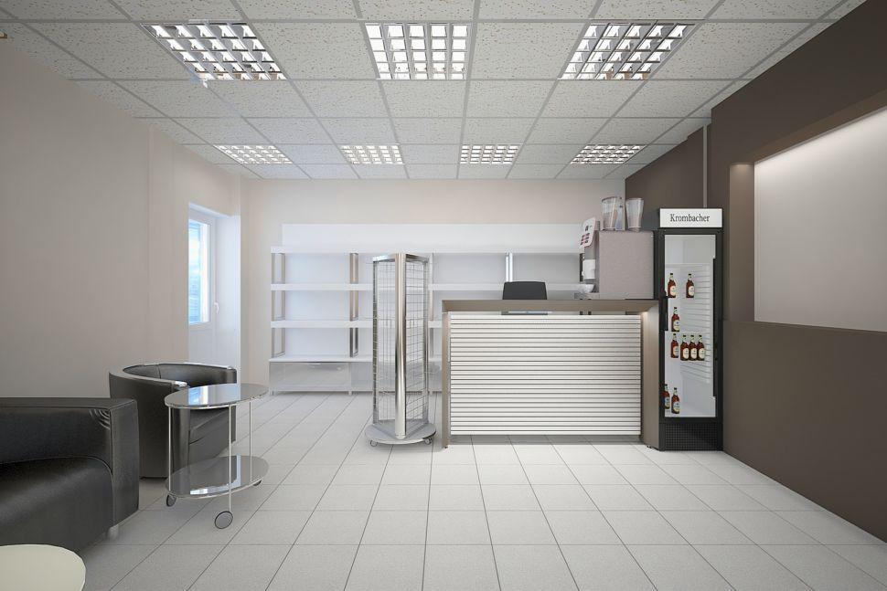 Визуализации комнаты отдыха 30 кв.м. в кофейных тонах, журнальный столик, кресло черное, барная стойка, холодильник