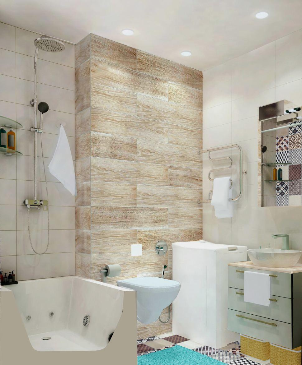 Визуализация ванной комнаты 3 кв.м. в светлых тонах, мойка, гигиенический душ, унитаз, плитка керамическая, дерево
