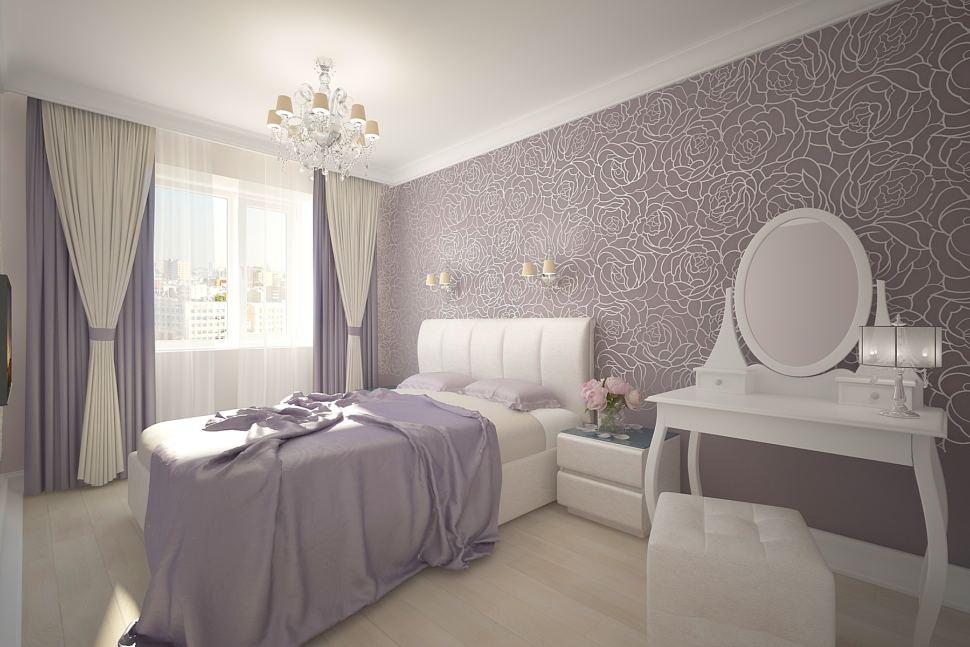 Визуализация спальни 16 кв.м в серых тонах, портьеры, кровать, туалетный столик, пуф, прикроватная тумба, дизайнерские обои