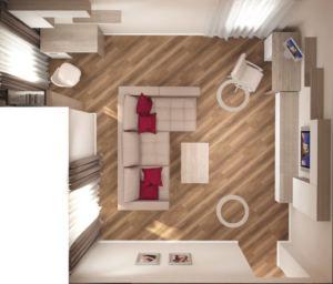 Проект гостиной 24 кв.м в бежевых тонах, угловой диван, рабочий стол, телевизор, тумба