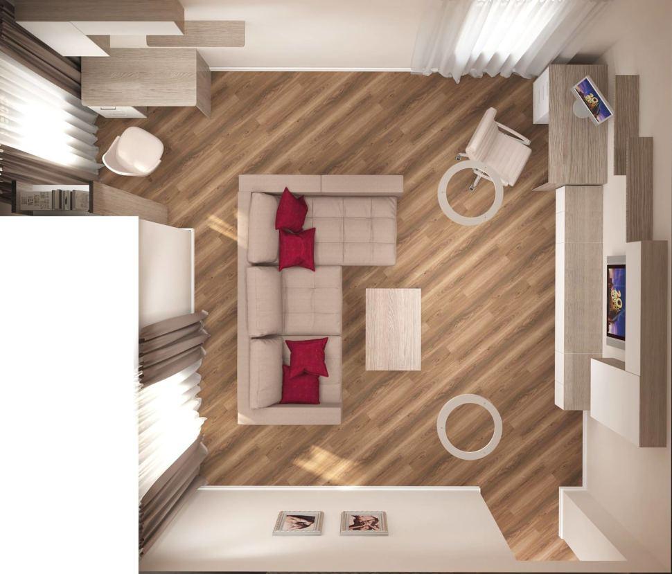 Визуализация гостиной 24 кв.м в древесных и красных тонах, бежевый диван, тумба под ТВ, журнальный столик, кресло, стол