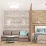 Визуализация спальни-гостиной 22 кв.м в песочных тонах с бирюзовыми оттенками, диван, кровать, перегородка, шкаф, зеркало, прикроватная тумба