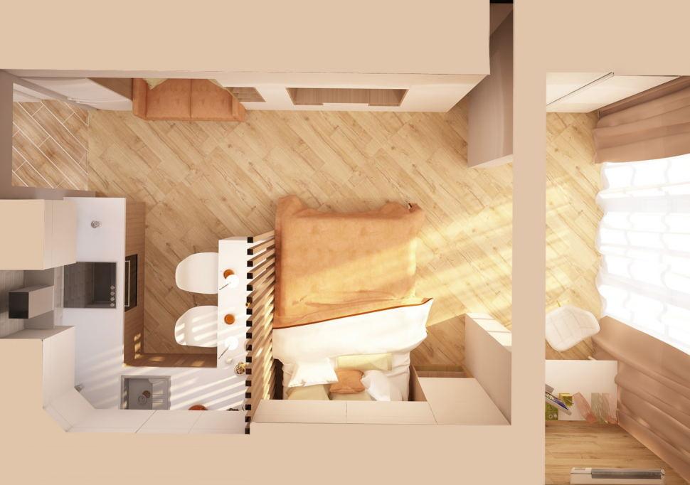 Визуализация комнаты 19 кв.м в теплых оттенках, спальня, кухня, лоджия, пвх - плитка, бежевый текстиль, диван, барная стойка