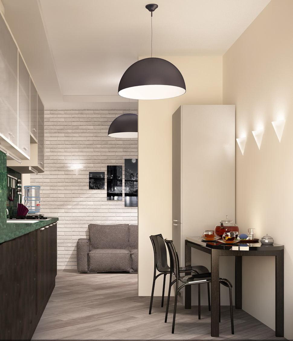 Визуализация кухни- гостиной 16 кв.м в светлых тонах с акцентами, обеденный стол, подвесная люстра, стулья, кухонный гарнитур