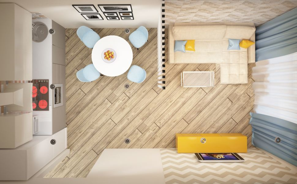 Визуализация кухни-гостиной 20 кв.м в теплых оттенках, перегородка, кухонный гарнитур, бежевый диван, тумба желтого цвета, акцентные портьеры