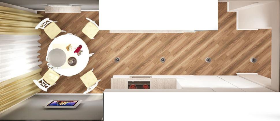 Дизайн-проект кухни 14 кв.м в белых и бежевых тонах, белый обеденный сол, кухонный гарнитур, потолочные светильники, духовой шкаф