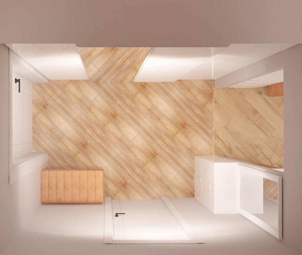 Проект прихожей 5 кв.м в светлых оттенках, бежевая банкетка, белый шкаф, белая галошница, зеркало