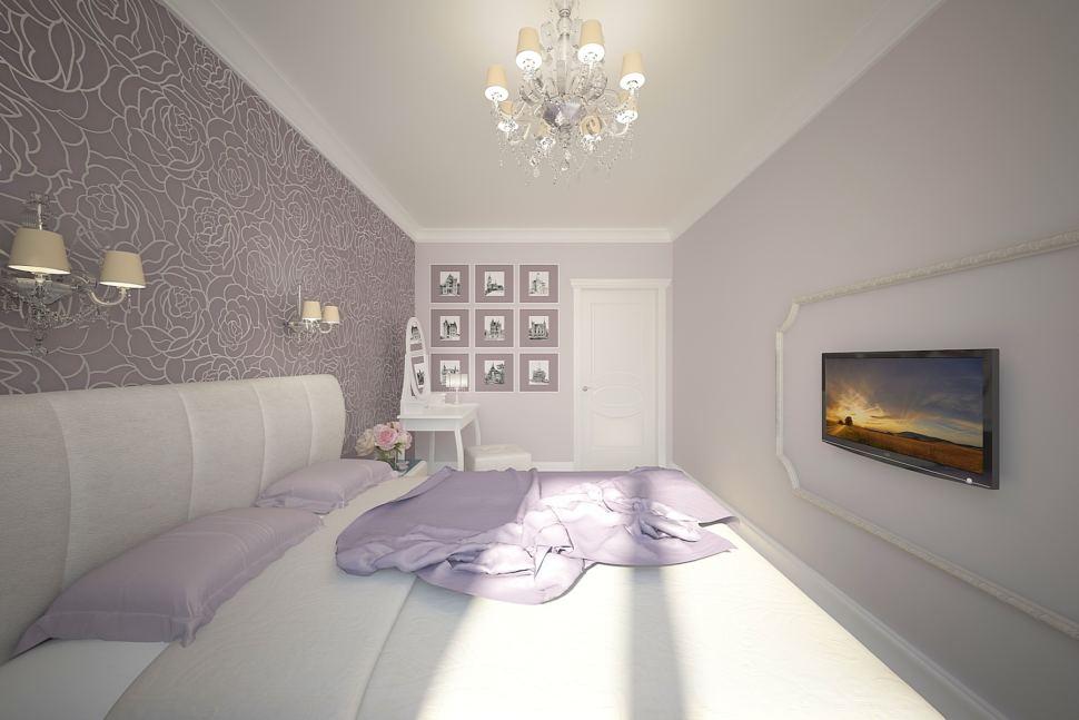Визуализация спальни 16 кв.м в серых тонах, белая кровать, туалетный столик, пуф, телевизор, декор, туалетный столик