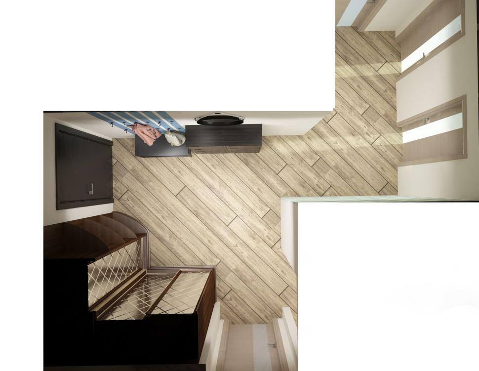 Проект прихожей 13 кв.м в теплых оттенках, акцентные полосы, открытая вешалка, зеркало, черная галошница, скамья - обувница