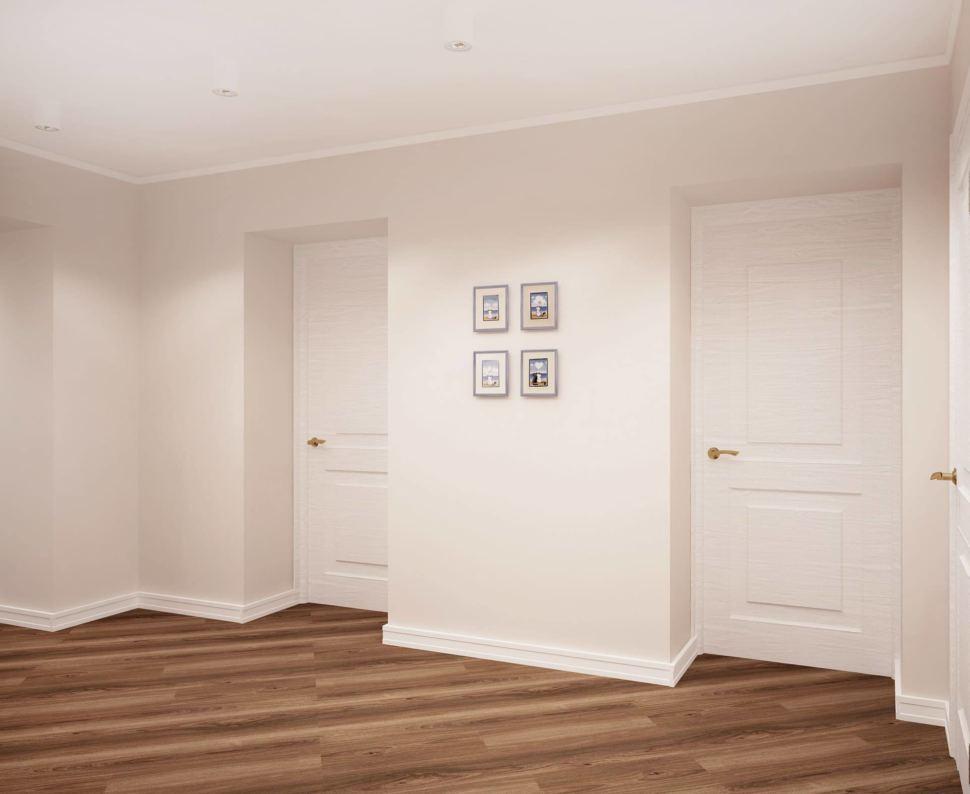 Интерьер коридора 14 кв.м в белых и древесных оттенках, темный ламинат, декор, белые потолочные светильники