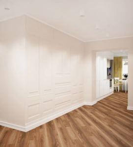 Интерьер прихожей 6 кв.м и коридора 14 кв.м в бежевых и белых тонах, белые накладные светильники, декоративные стены, бежевая пвх плитка