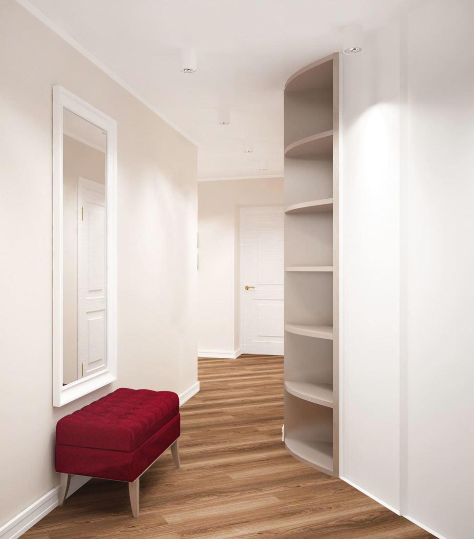 Дизайн-проект прихожей 14 кв.м в белых и древесных оттенках, бордовая скамья, белый шкаф, зеркало, ламинат, потолочные светильники