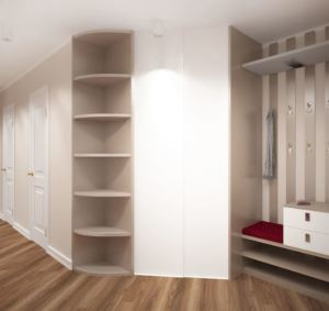 Проект прихожей 6 кв.м и коридора 14 кв.м в бежевых и белых тонах, вешалка, белый шкаф, красная скамья, пвх плитка