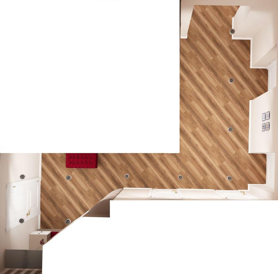Визуализация коридора 14 кв.м в белых и древесных оттенках, бордовая скамья, вешалка, зеркало, потолочные светильники, ламинат
