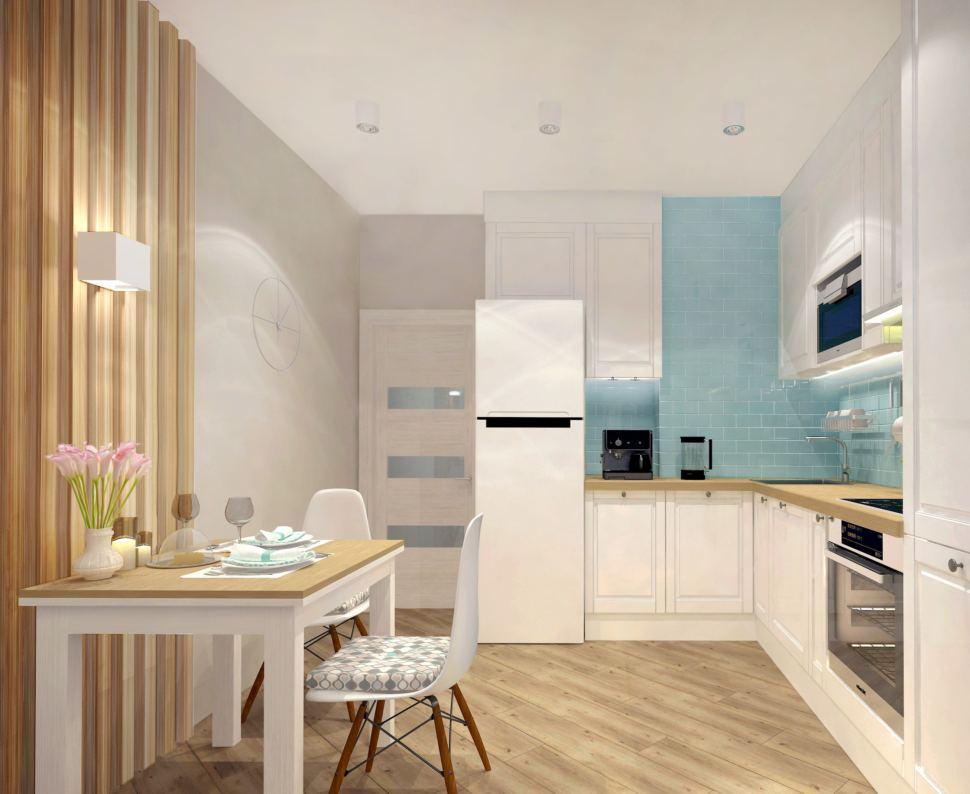 Визуализация кухни 9 кв.м. в бежевых тонах с бирюзовыми акцентами, акцентный кухонный фартук, стол, стул, белая кухня