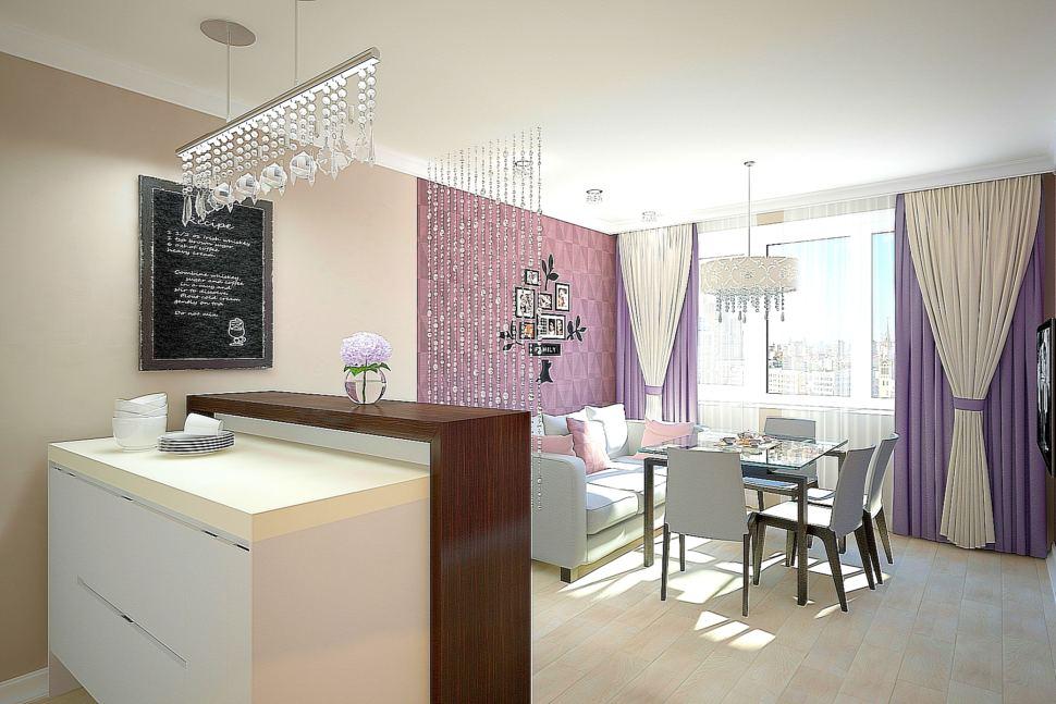 Визуализация комнаты 30 кв.м в бежевых тонах с нежно-фиолетовыми акцентами, обеденный стол, голубой диван, белый кухонный гарнитур, барная стойка, паркет