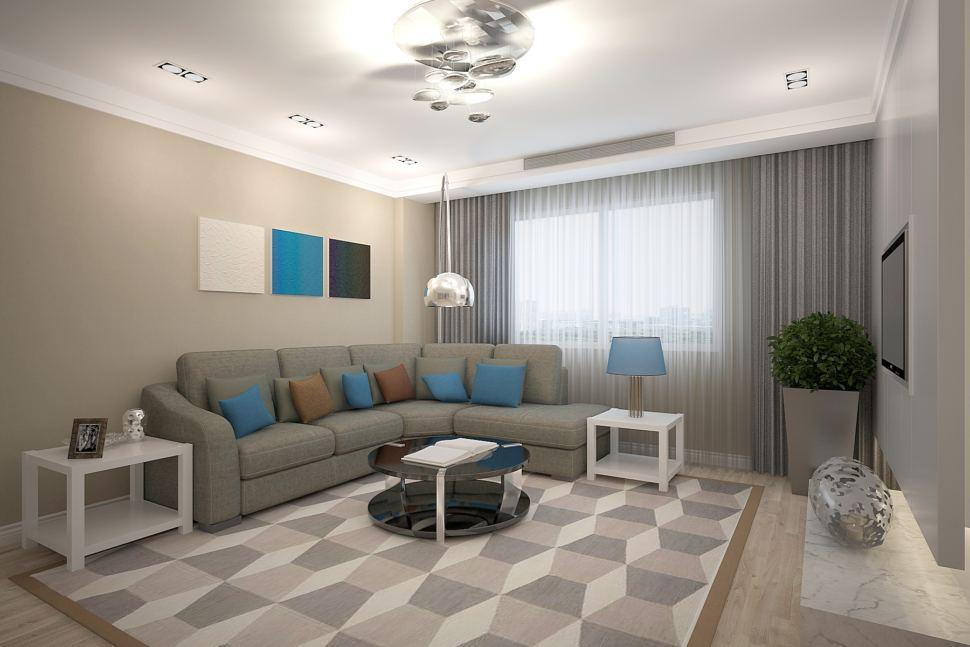 Дизайн-проект гостиной 26 кв.м в теплых тонах с синими акцентами, диван, люстра, белый журнальный столик, декор
