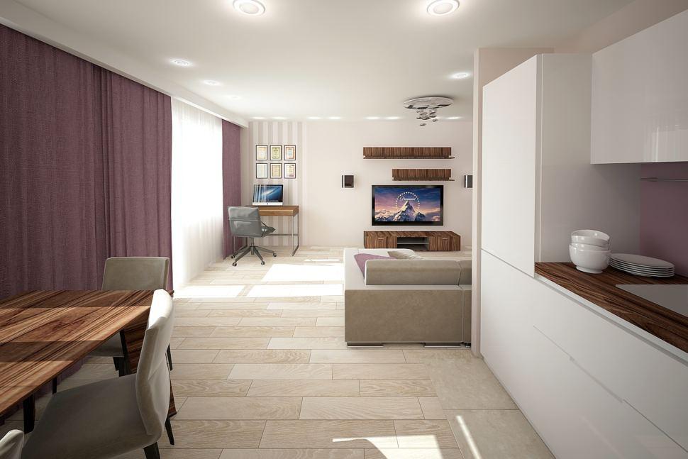 Проект гостиной 32 кв.м в бежевых тонах с акцентами, фиолетовые портьеры, бежевый диван, декор, обои, стол, телевизор