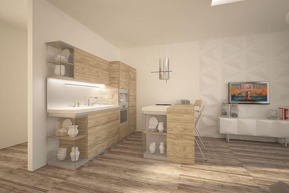 Интерьер комнаты 30 кв.м в теплых оттенках с акцентами, бежевый кухонный гарнитур, барная стойка, барные стулья, белая тумба, светильники, ламинат