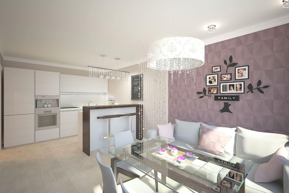 Кухня - гостиная 30 кв.м в бежевых тонах с нежно-фиолетовыми акцентами, обеденная группа, люстра, диван, барная стойка, кухонный гарнитур