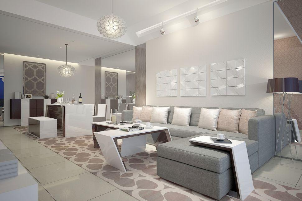 Визуализация гостиной 37 кв.м , ковровая дорожка, декоративная штукатурка, обеденный стол, декор, ваза для цветов, подвесная люстра, скамья, диван