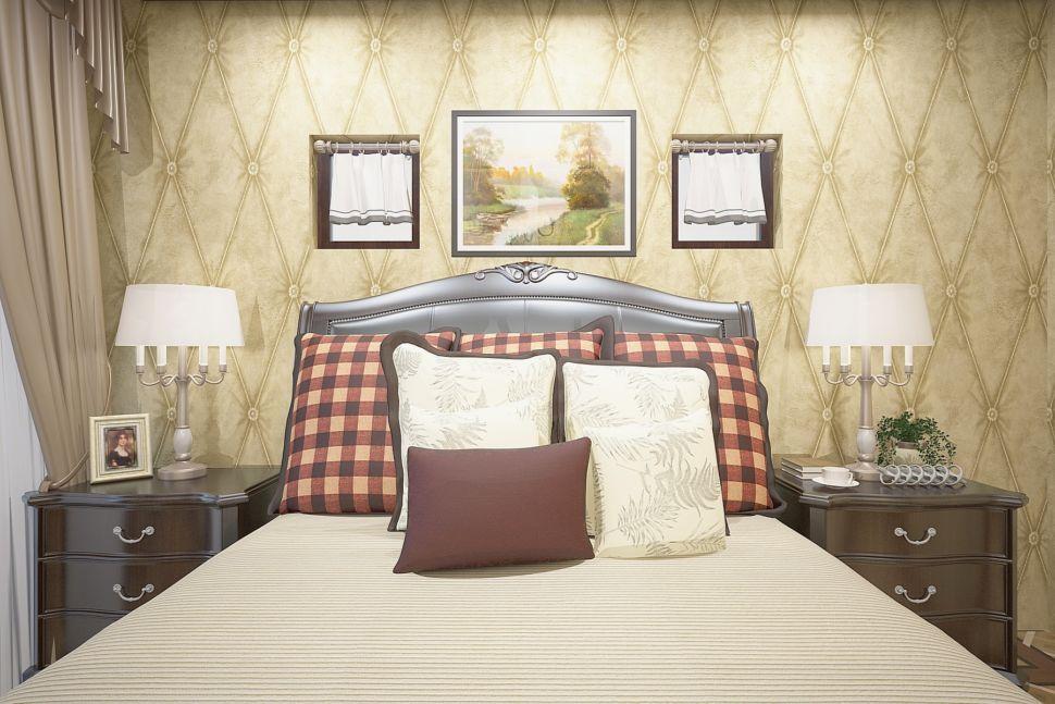 Интерьер спальни 16 кв.м в бежевых тонах, прикроватные тумбочки под дерево, портьеры, люстра, дизайнерские обои, светильники