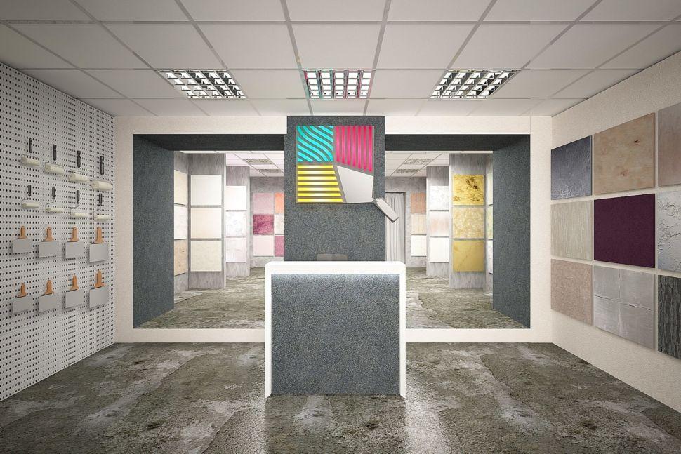Дизайн-проект торгового помещения 60 кв.м в серых оттенках с акцентами, декоративная штукатурка, стенд, логотип, акценты, светильники