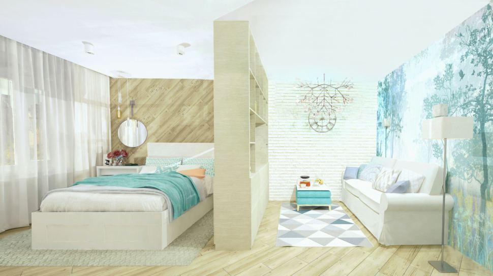 Визуализация комнаты 19 кв.м. в природных тонах с акцентами, пвх плитка, стеллаж, диван, ковер, зеркало